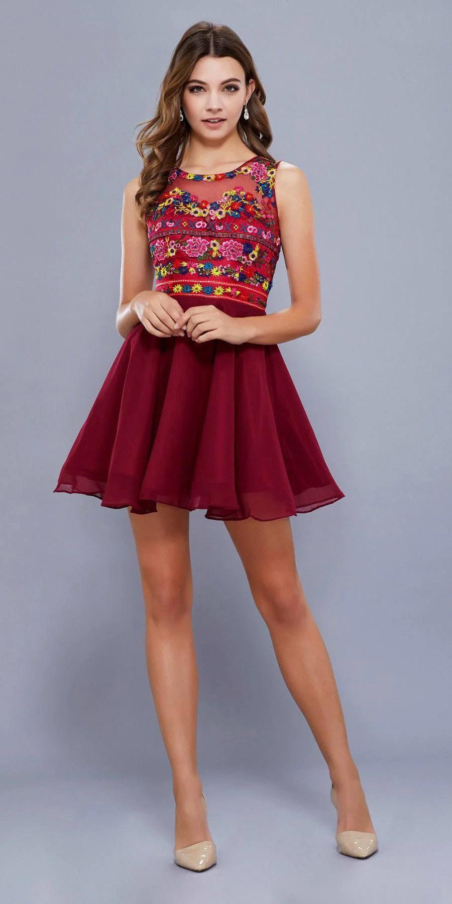 Short Sleeveless Burgundy Prom Dress