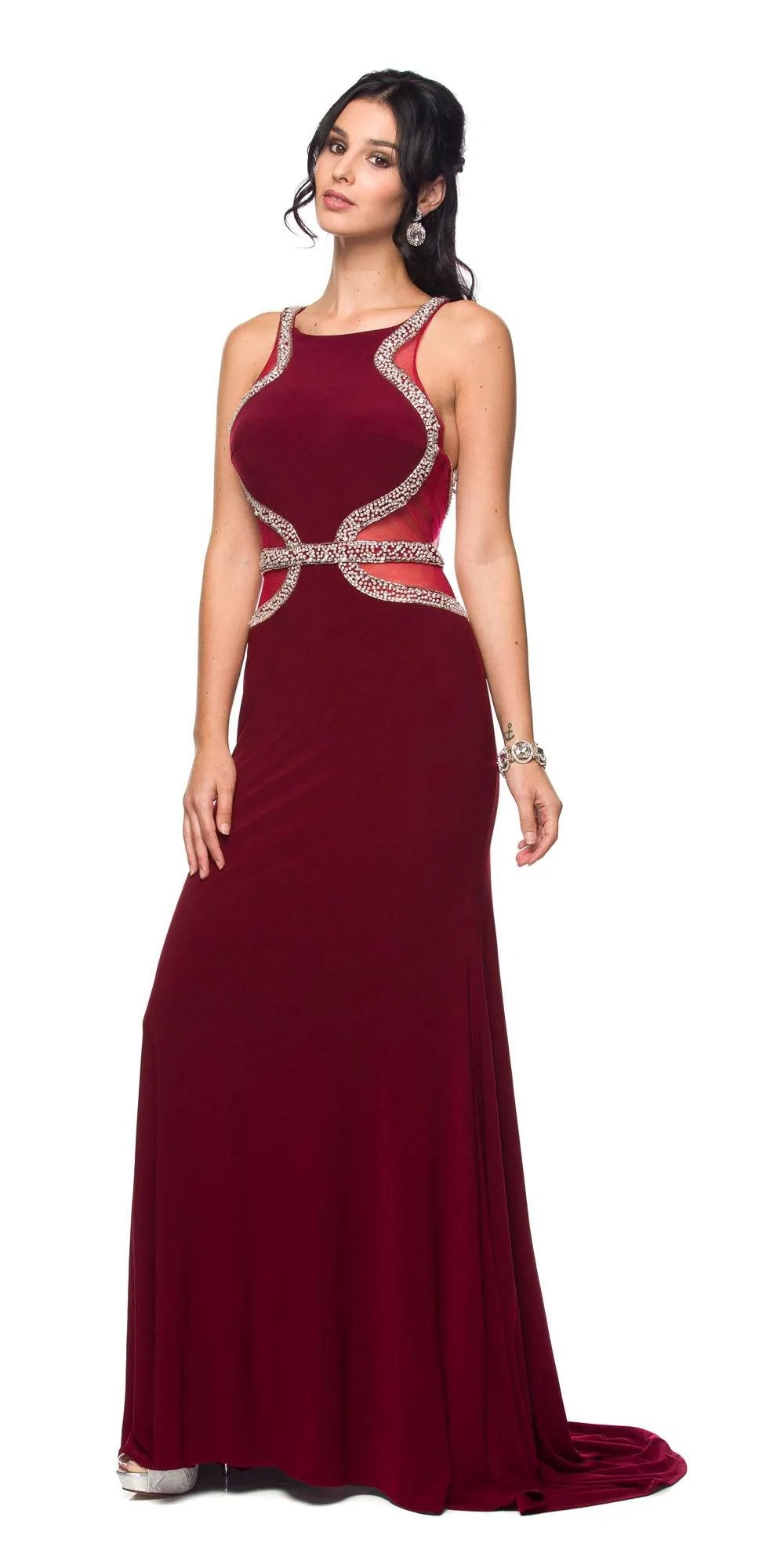Navy Blue Prom Dress Cut Out