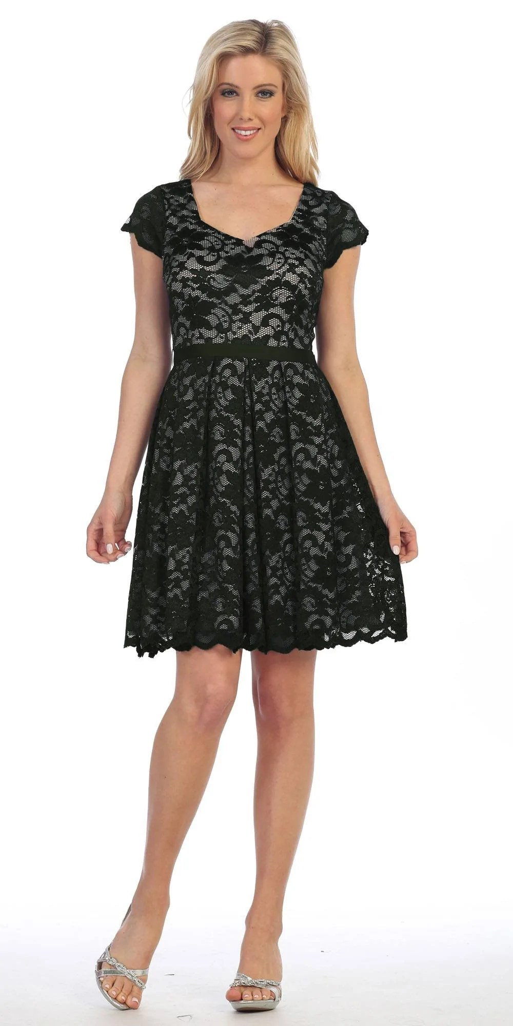 Short Knee Length Lace Dress with Sleeves