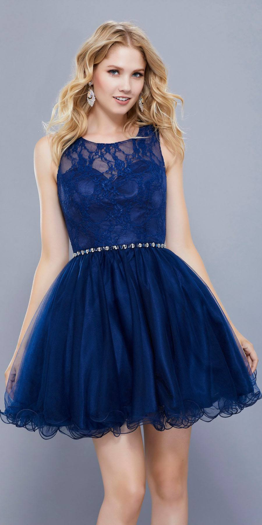 Navy Blue Short Lace Homecoming Dress