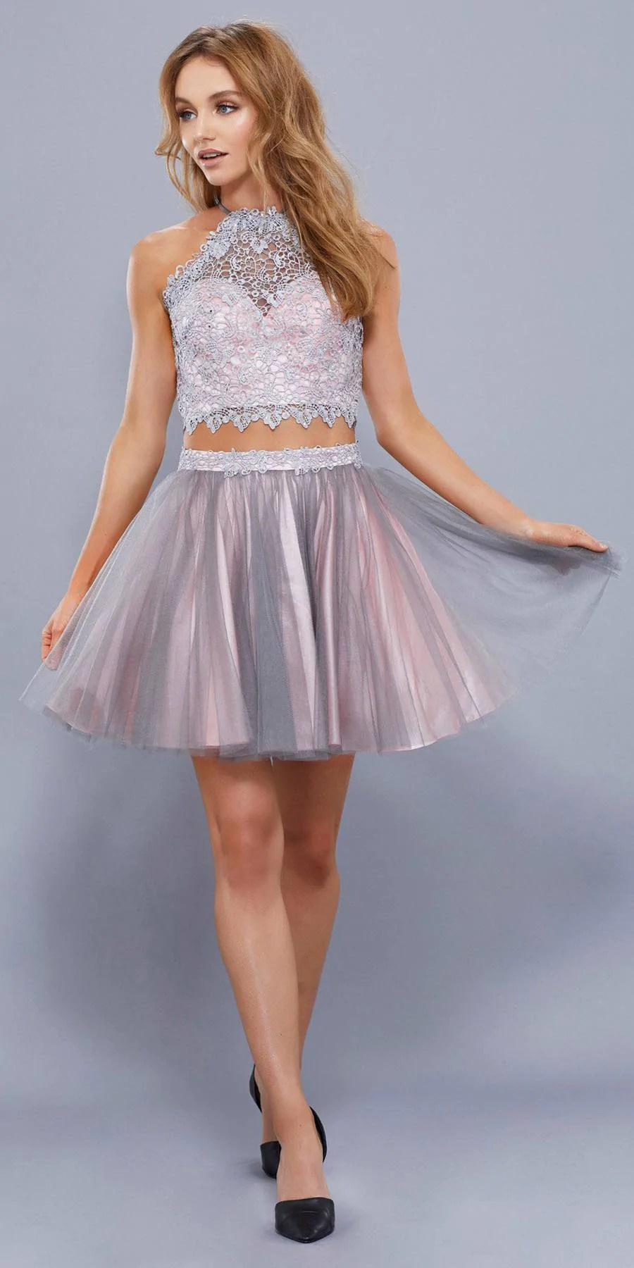 Two Piece Pink Halter Top Prom Dress