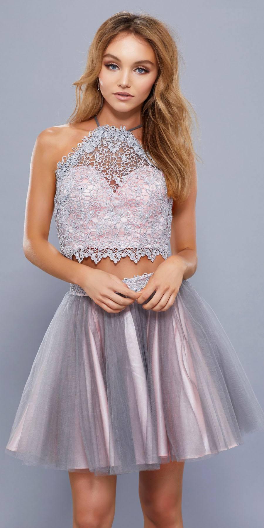 Halter Two Piece Prom Dress Short