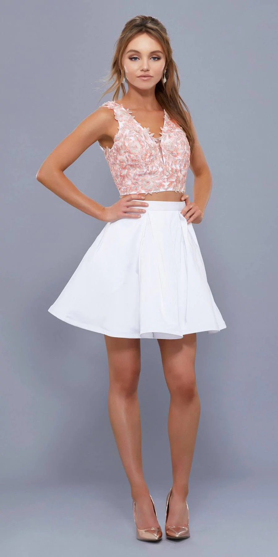 Two Piece Homecoming Dresses Peach