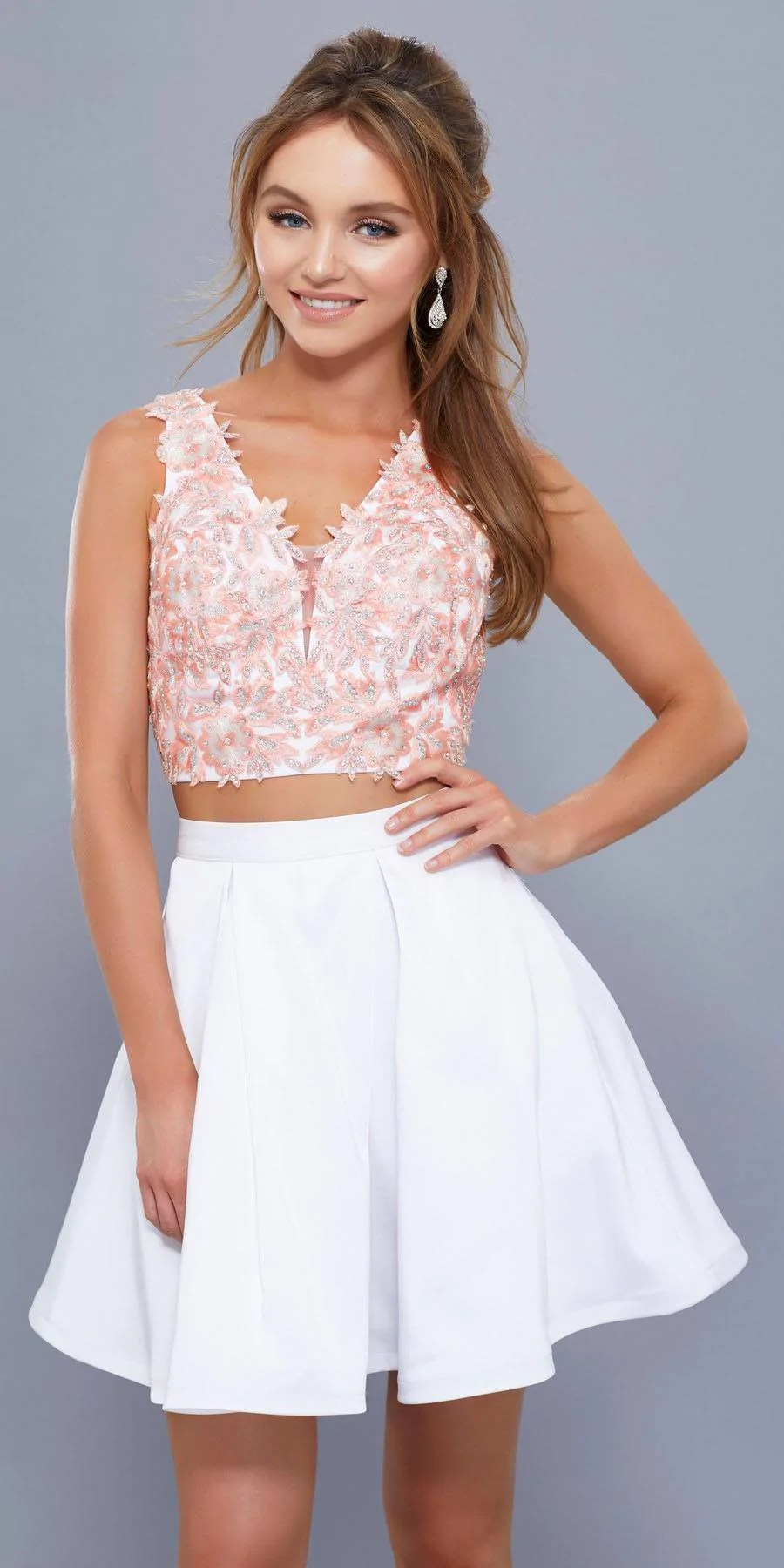 Two Piece Crop Top Homecoming Dress