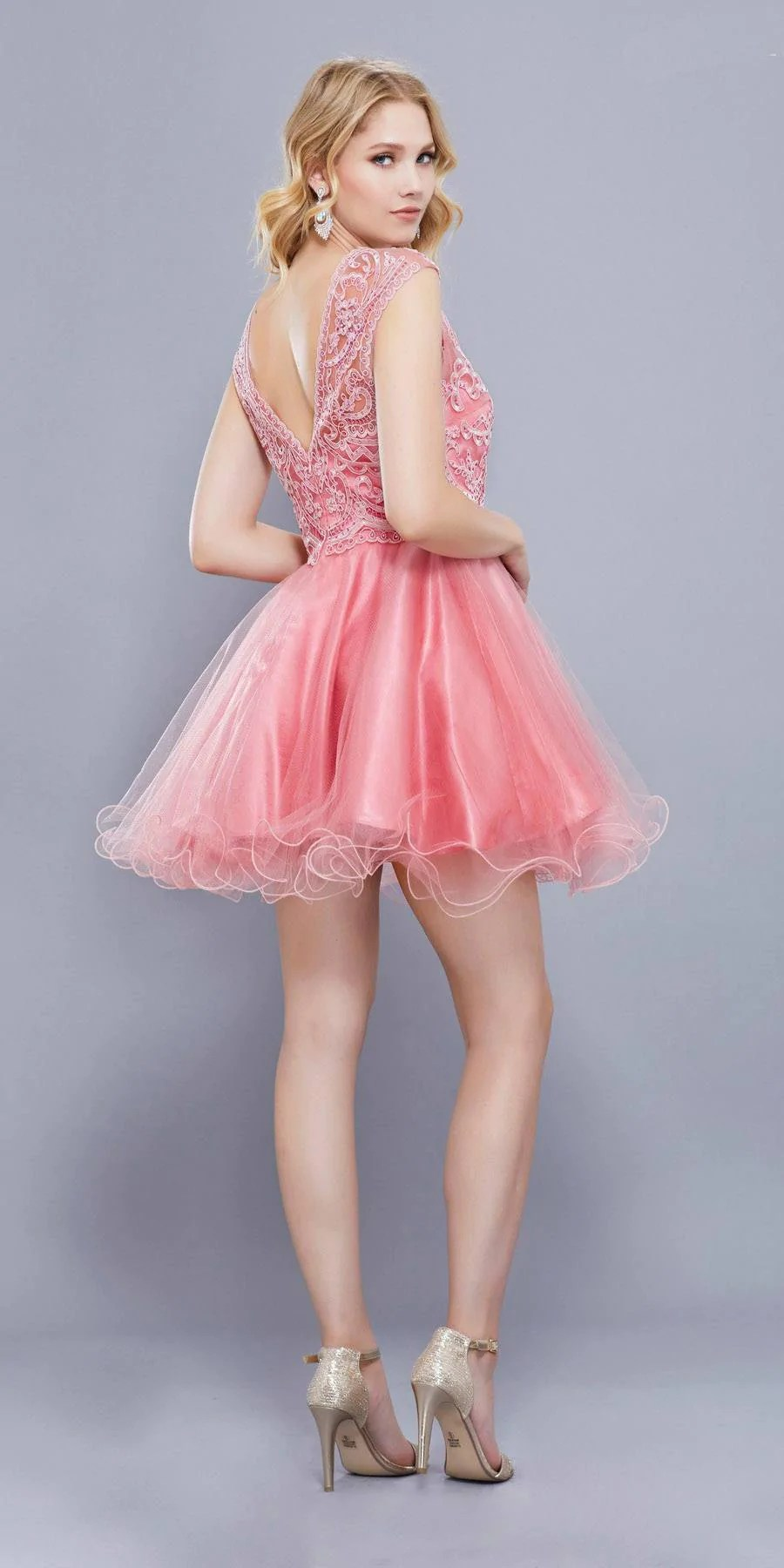 Cap Sleeves Poofy Short Homecoming Dress Appliqued Bodice