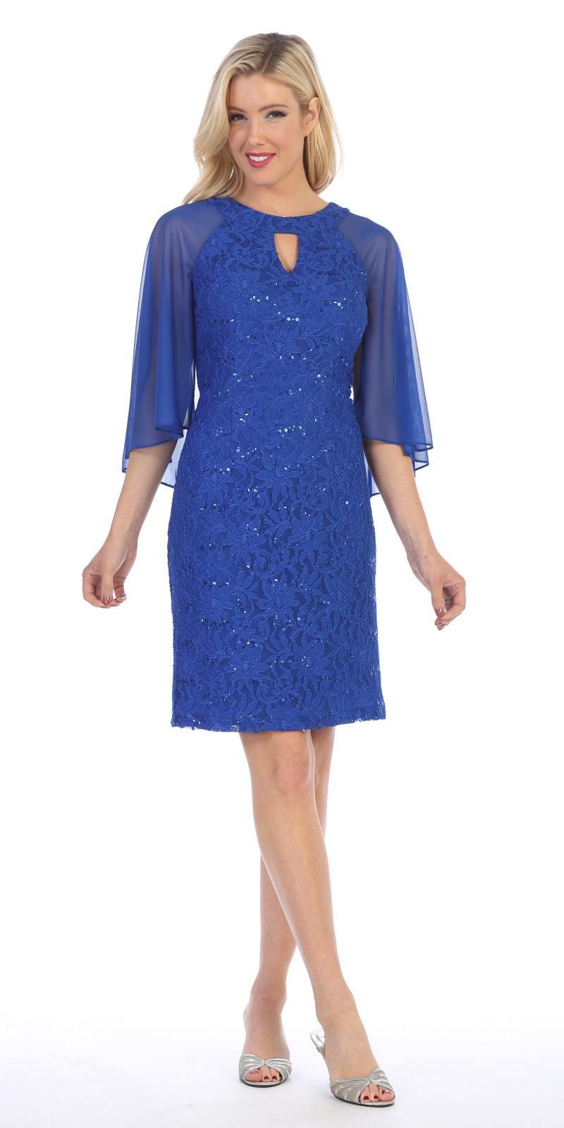 Celavie 6352S Royal Blue Wedding Guest Dress with Flutter Sleeves  DiscountDressShop