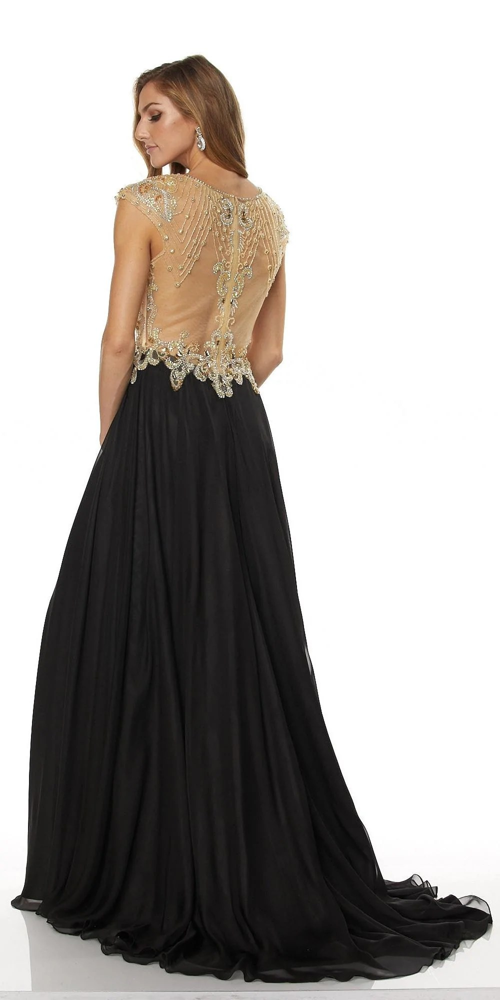 Beaded Evening Gowns with Sleeves and Slit