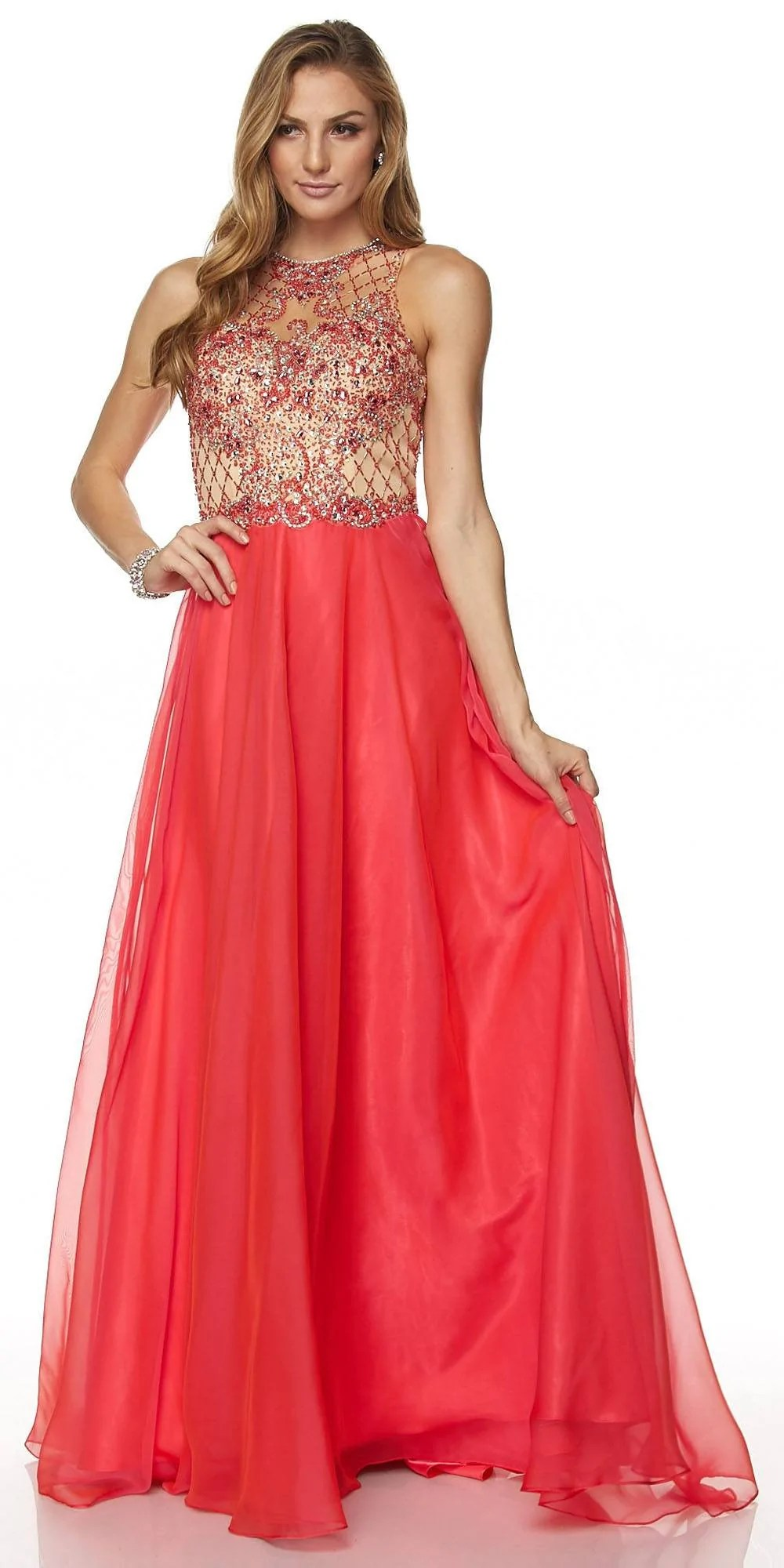 Juliet 637 Sleeveless -line Rhinestone Embellished Prom
