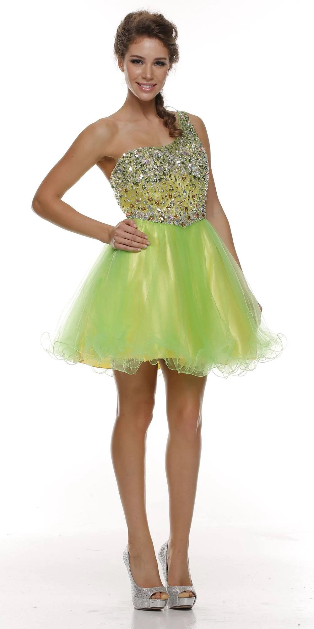 Yellow Puffy Prom Dresses