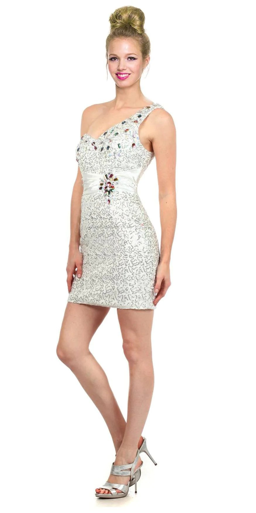 Short White Sequin Cocktail Dress