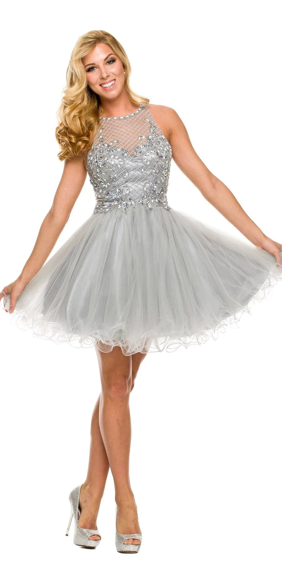 Short Poofy Formal Gown Silver Tulle Skirt A Line High Neck  DiscountDressShop