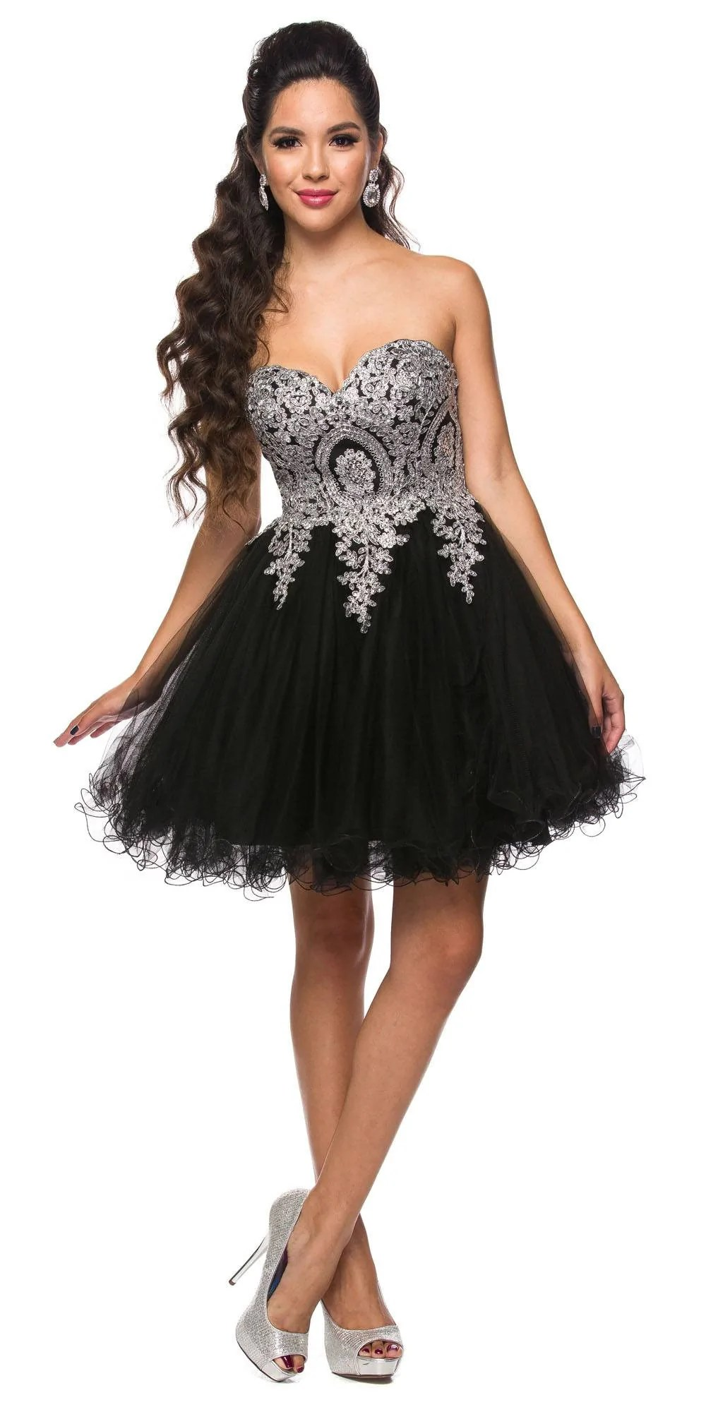 Black and Silver Short Prom Dresses