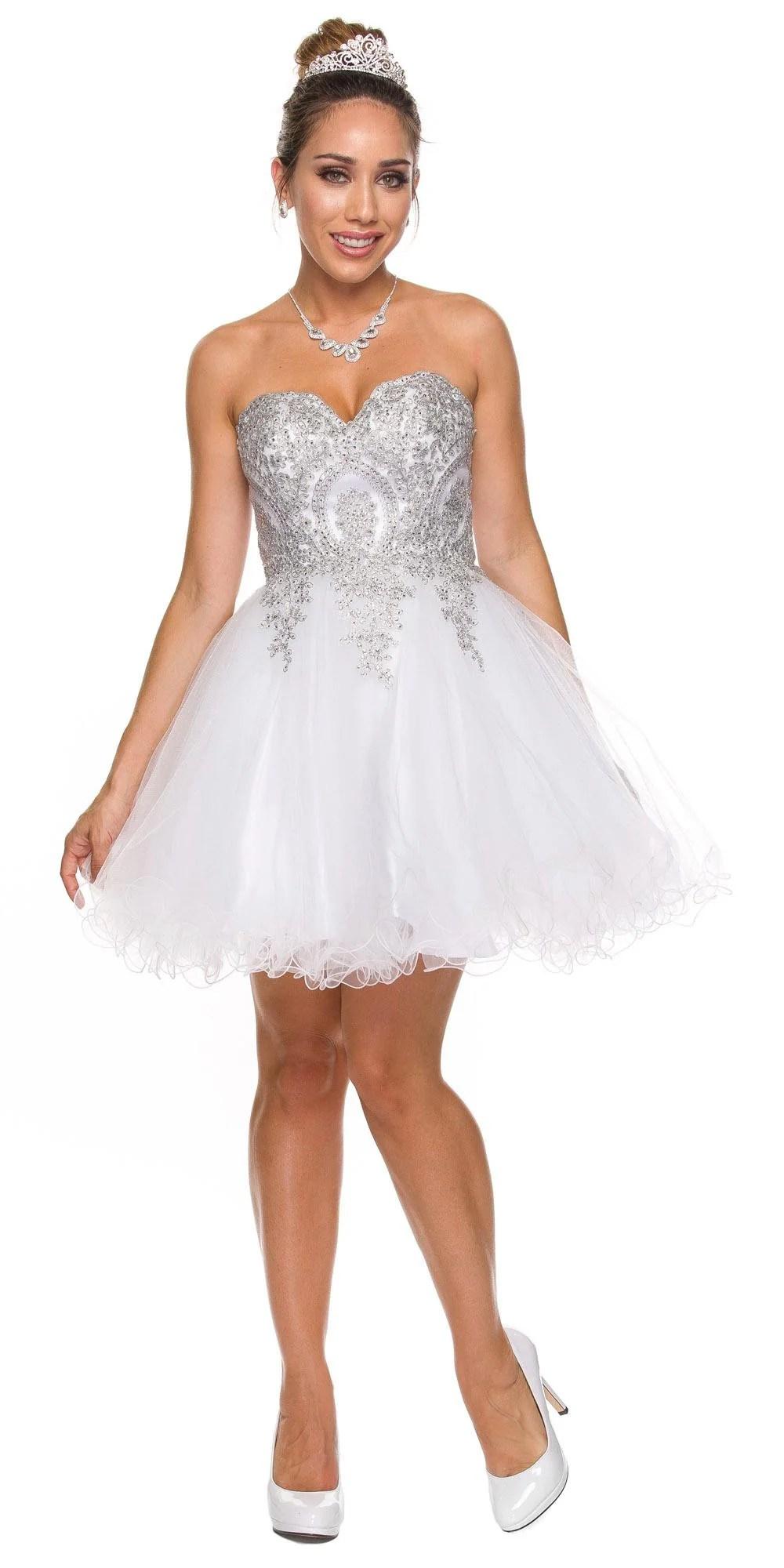Juliet 762 Black Silver Sweetheart Neckline Poofy Short Prom Dress  DiscountDressShop