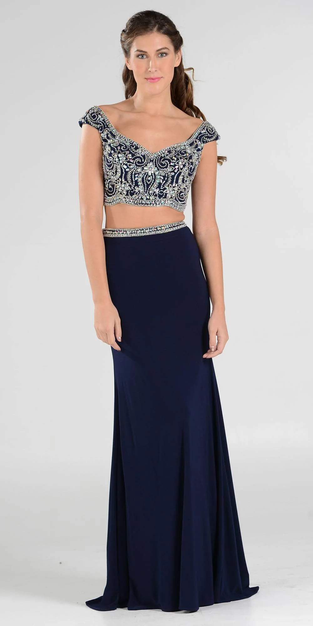Long Sleeve Two Piece Prom Dresses