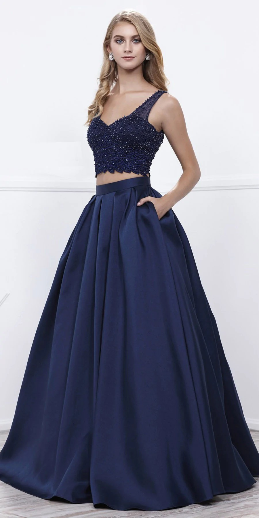 Navy Blue Beaded Crop Top -neck Long Pleated Skirt Two