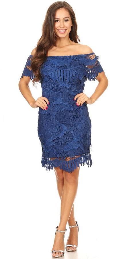 Royal Blue Off Shoulder Wedding Guest Dress Short  DiscountDressShop