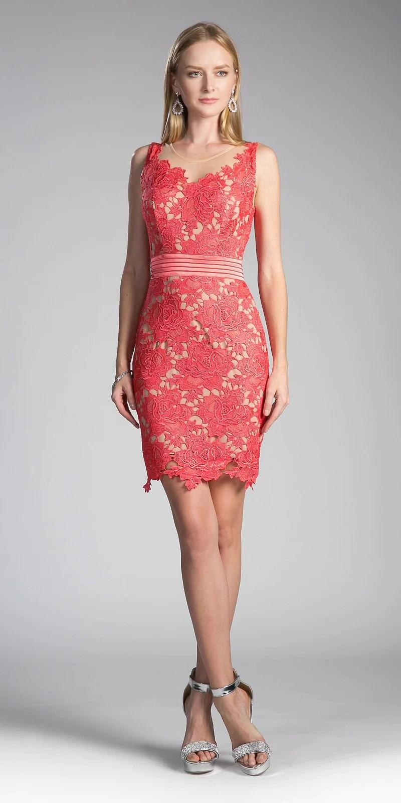 Cinderella Divine Cf053 Sleeveless Lace Overlay Orange