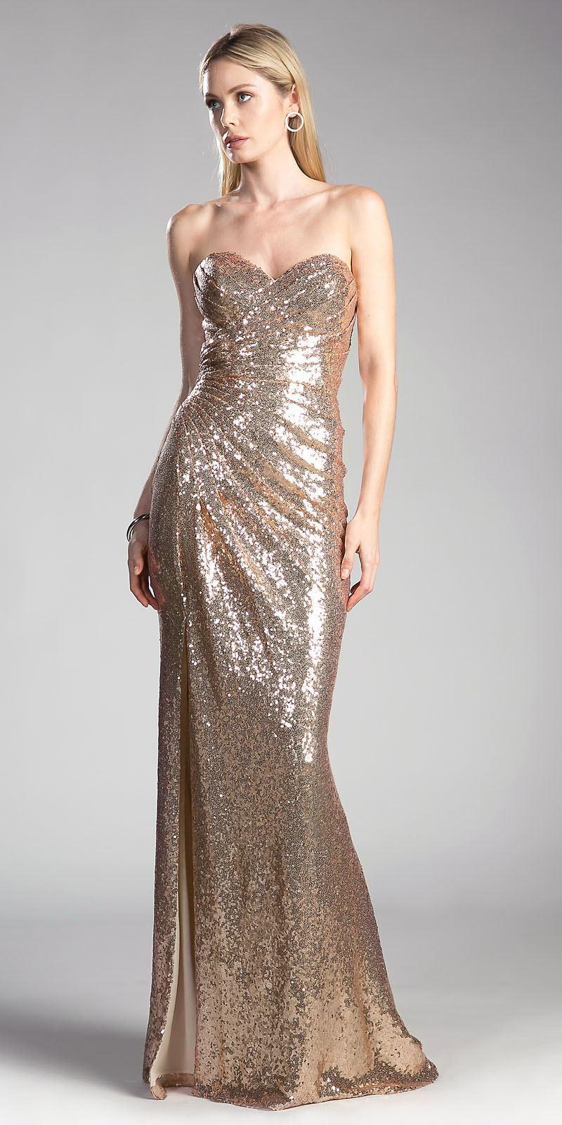 Cinderella Divine Ch561 Sequins Strapless Long Prom Dress
