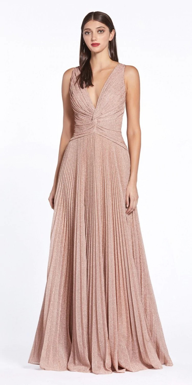 rose gold pleated long