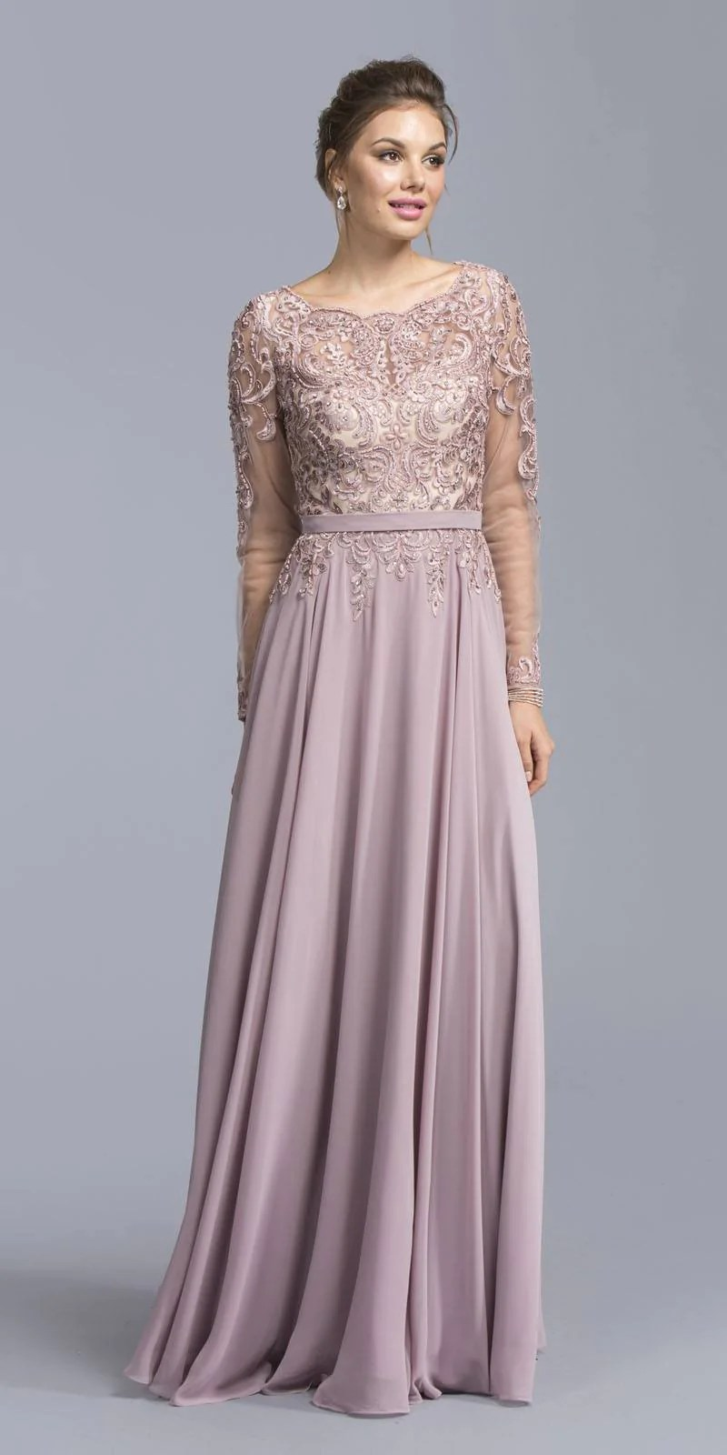 Aspeed Usa M1925 Mauve Long Sleeve Embroidered Formal