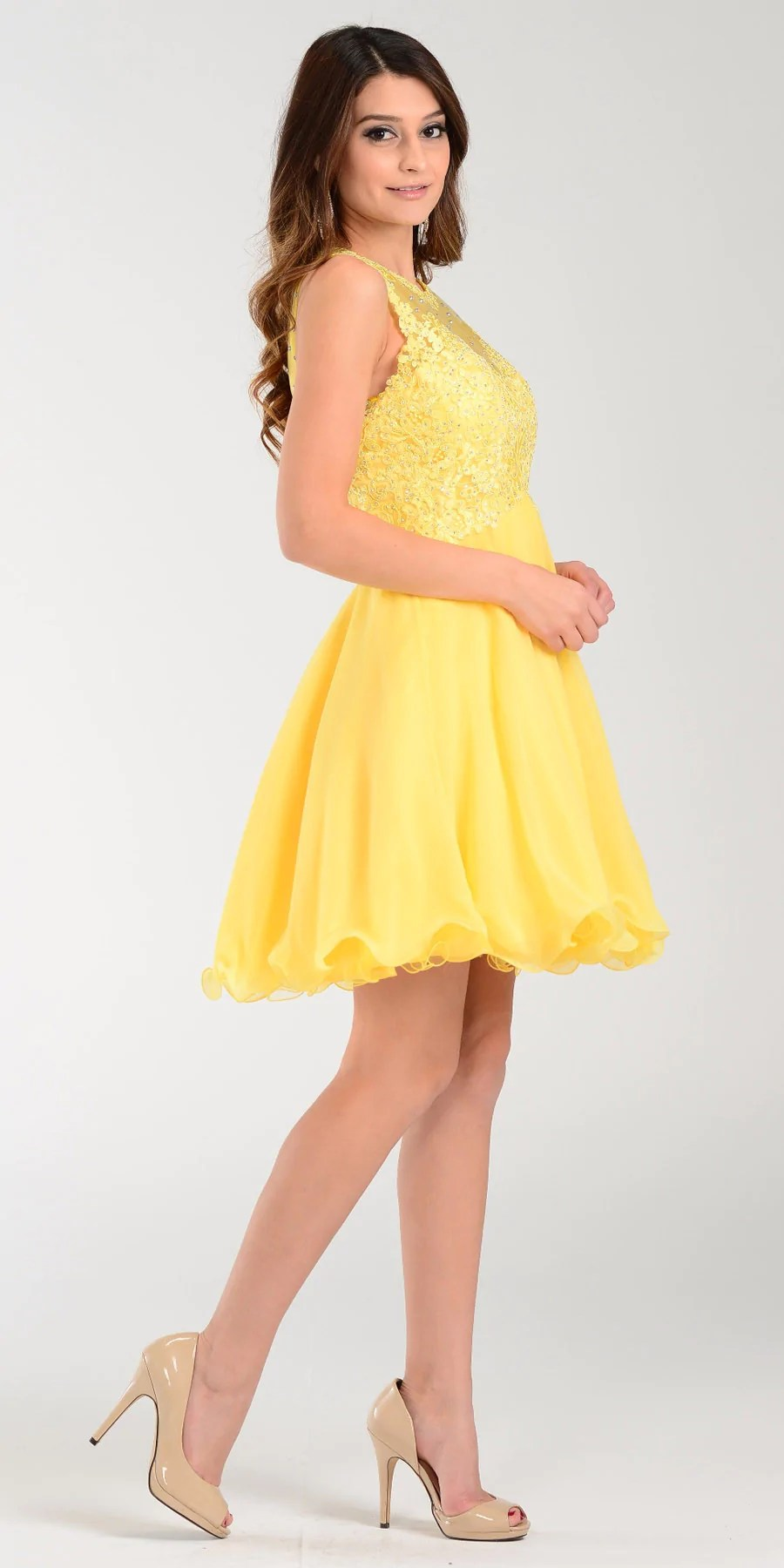 Poly USA 7456 Short A Line Chiffon Prom Dress Yellow Sheer