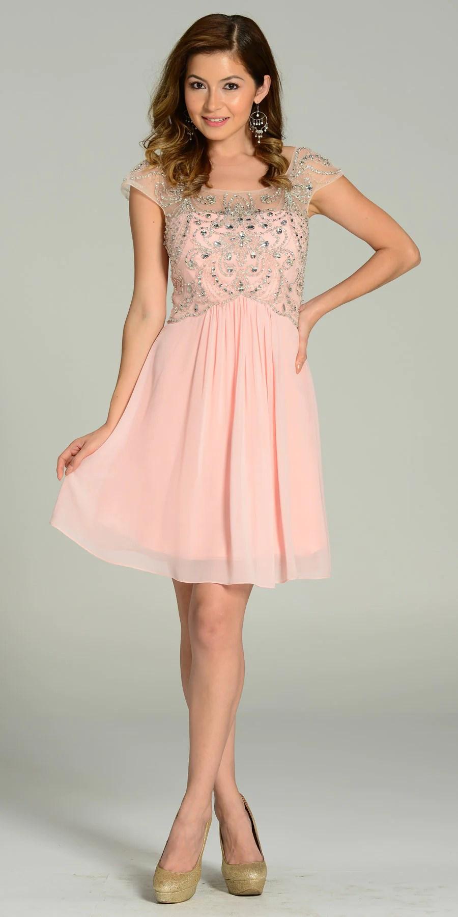 Short Empire Waist Chiffon Dress with Sleeves