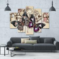 Butterflies In Motion 5-Piece Wall Art Canvas