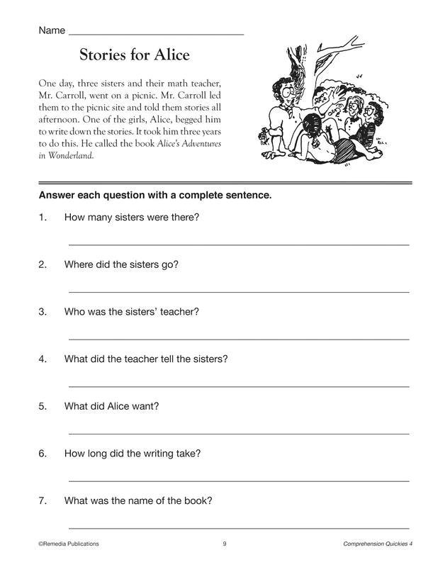 4th Grade Comprehension Reading - Tutorial Worksheet