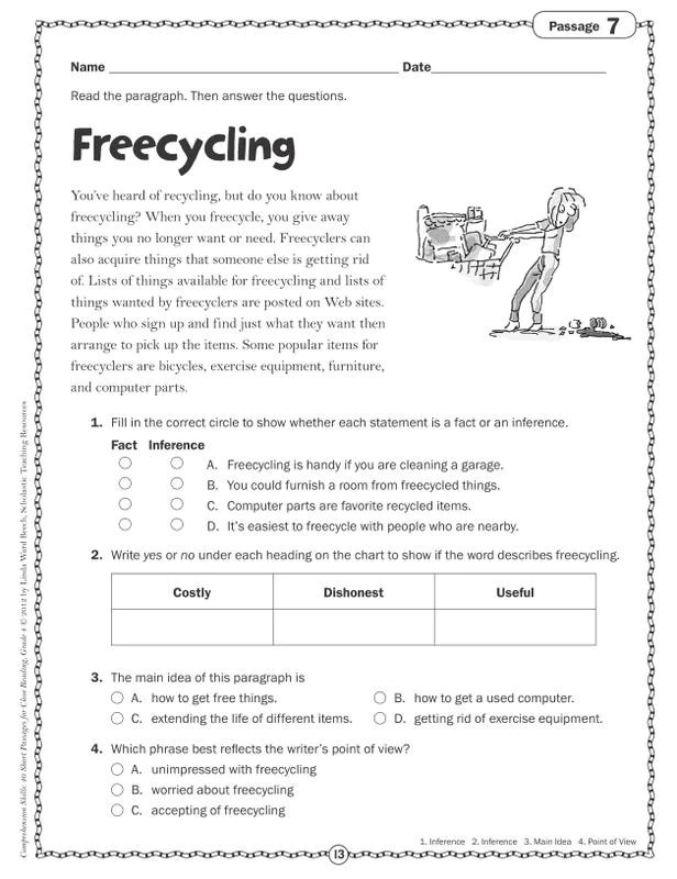 Close Reading Passages For 4th Grade Pdf - Download Worksheet
