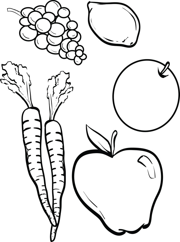 Coloring Pictures Of Fruits : coloring, pictures, fruits, Printable, Fruits, Vegetables, Coloring, SupplyMe