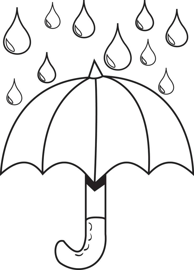 Raindrops Coloring Page : raindrops, coloring, Printable, Umbrella, Raindrops, Spring, Coloring, SupplyMe