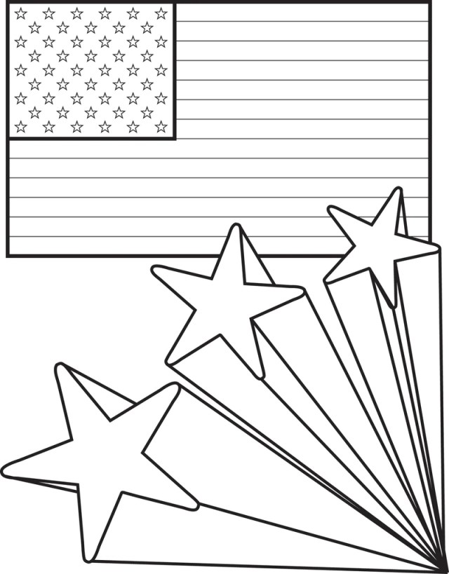 American Flag with Shooting Stars - 26th of July Coloring Page