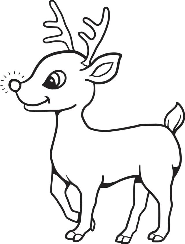 Printable Baby Reindeer Christmas Coloring Page for Kids