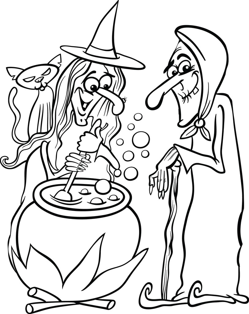 hight resolution of Printable Halloween Witches Coloring Page for Kids #1 – SupplyMe