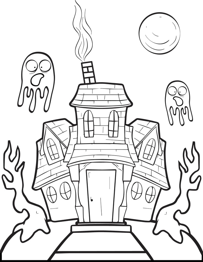 Haunted House Coloring Page : haunted, house, coloring, Printable, Halloween, Haunted, House, Coloring, SupplyMe