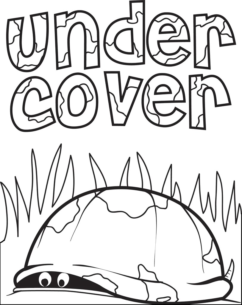 free printable turtle hiding in its' shell coloring page