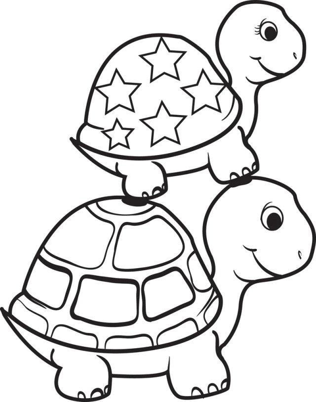 Turtle On Top of a Turtle Coloring Page