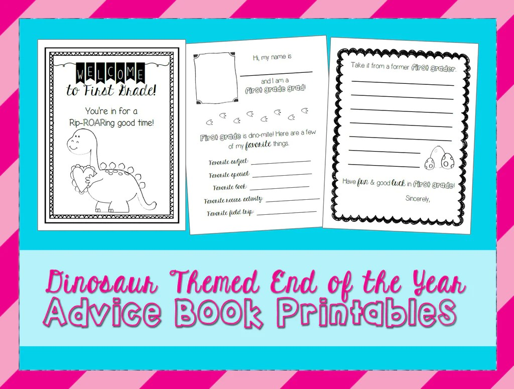 small resolution of First Grade Dinosaur Themed End of the Year Advice Book Printables –  SupplyMe