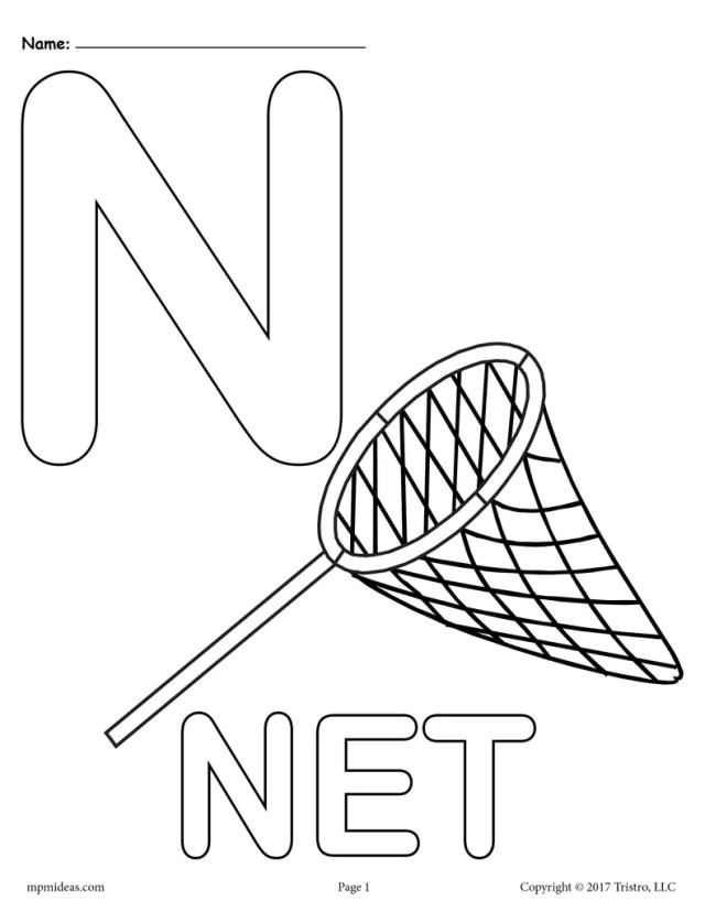 Letter N Alphabet Coloring Pages - 11 Printable Versions!