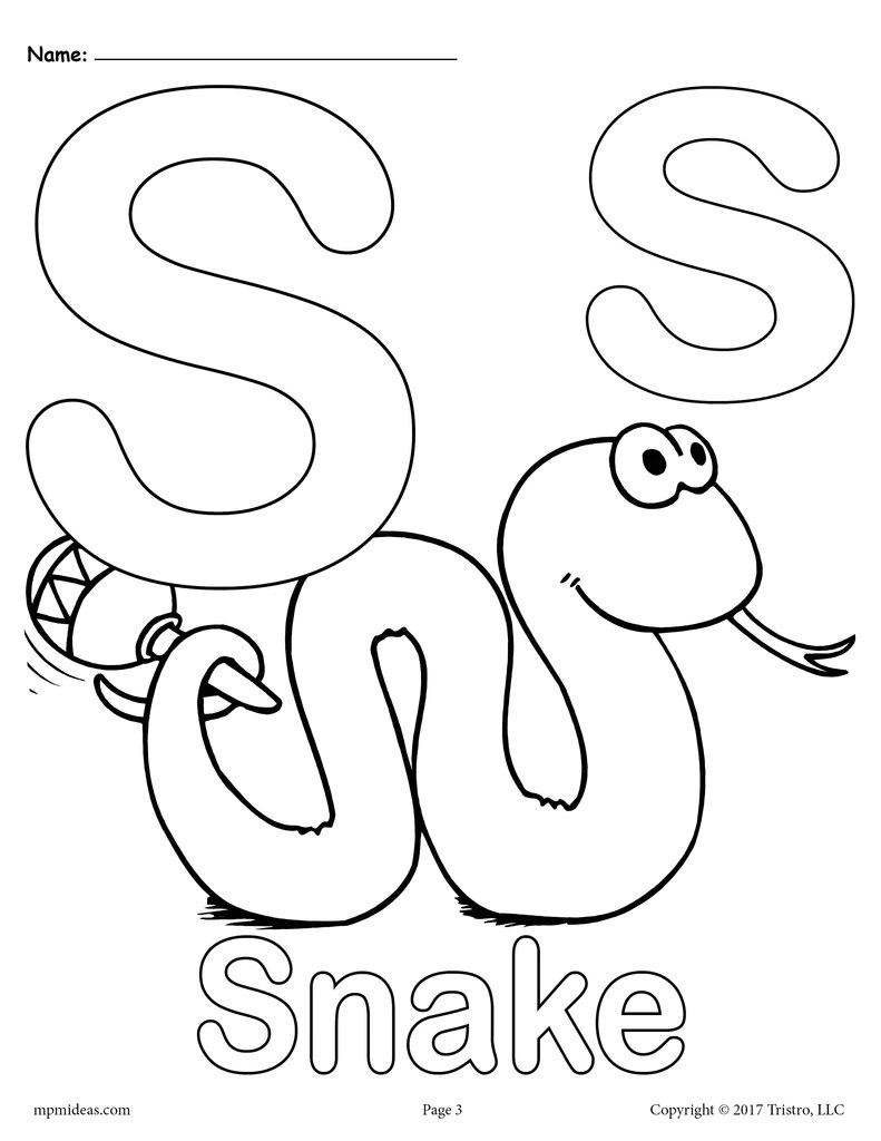 Letter S Alphabet Coloring Pages 3 Printable Versions Supplyme