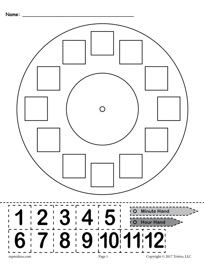 medium resolution of Printable \Build a Clock\ Telling Time Activity! – SupplyMe
