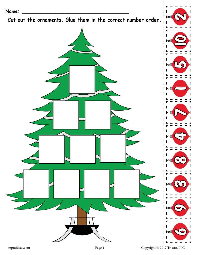 Printable Christmas Tree Ordering Numbers Worksheet Numbers 1-10! – SupplyMe [ 1024 x 791 Pixel ]