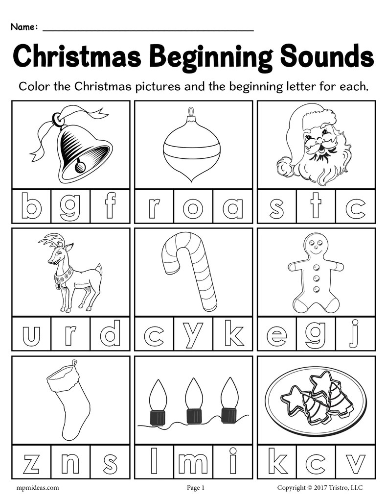 hight resolution of Printable Christmas Beginning Sounds Worksheet! – SupplyMe