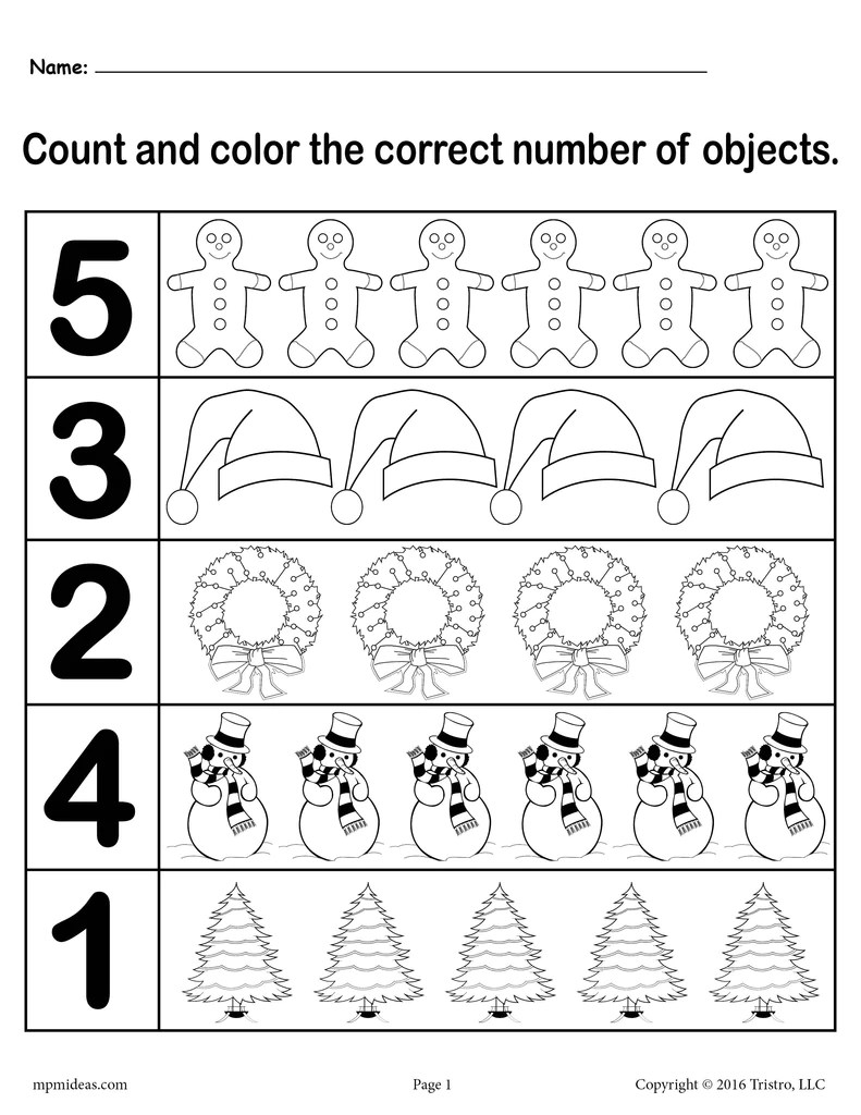 Christmas Themed \Count and Color\ Worksheets (3 Printable Versions)! –  SupplyMe [ 1024 x 791 Pixel ]
