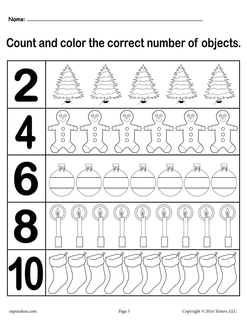 small resolution of Christmas Themed \Count and Color\ Worksheets (3 Printable Versions)! –  SupplyMe
