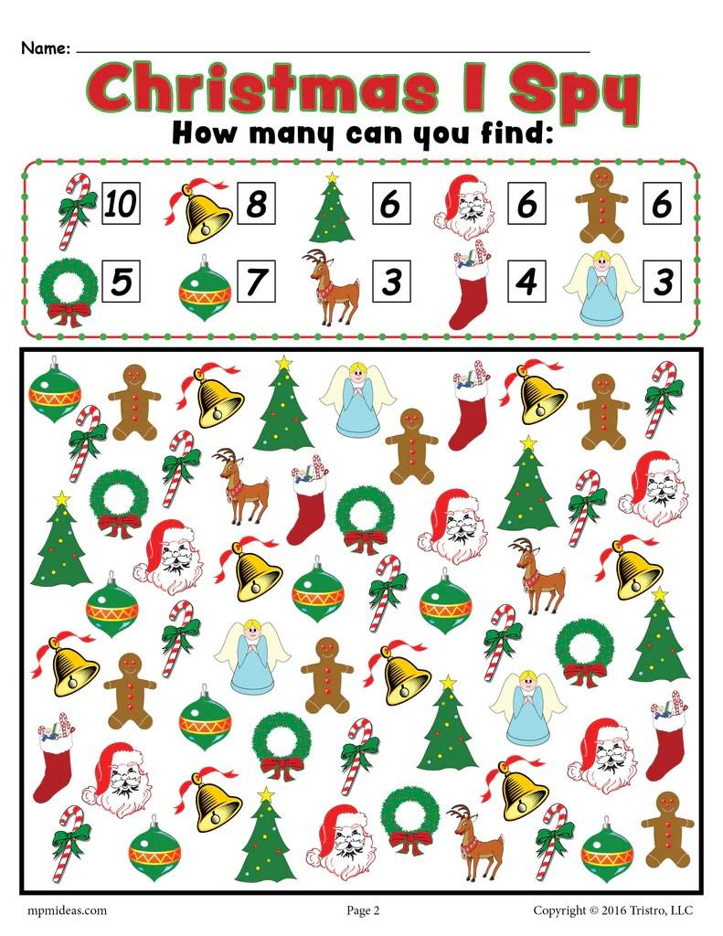 Christmas I Spy - Printable Christmas Counting Worksheet! – SupplyMe [ 1024 x 791 Pixel ]