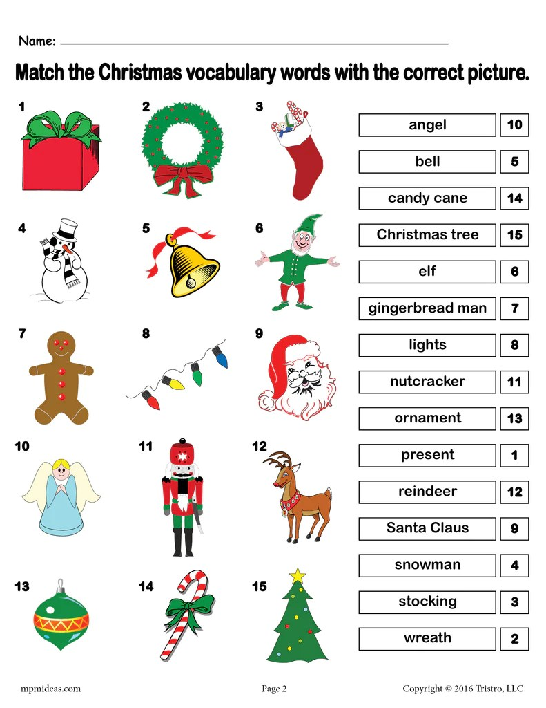 hight resolution of Printable Christmas Vocabulary Matching Worksheet! – SupplyMe