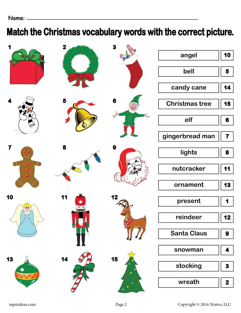small resolution of Printable Christmas Vocabulary Matching Worksheet! – SupplyMe