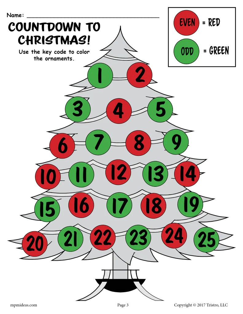 Printable Countdown to Christmas Odd and Even Worksheets! – SupplyMe [ 1024 x 791 Pixel ]
