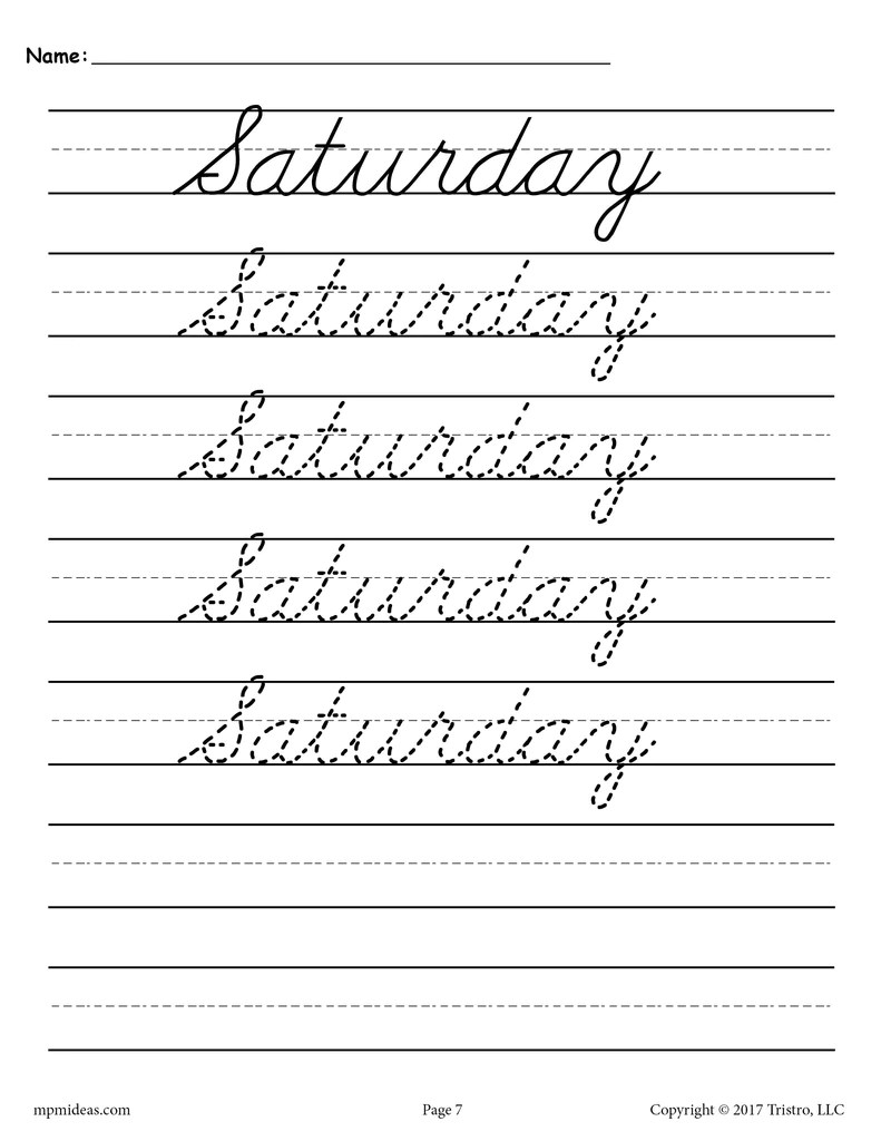 small resolution of 7 Cursive Handwriting Worksheets - Days of the Week! – SupplyMe